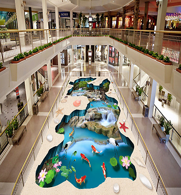 3D Fish pond stone 012 Floor WallPaper Murals Wall Print Decal 5D AJ WALLPAPER