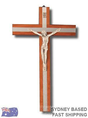 WALL CRUCIFIX 30cm Religious Cross Wood with Metal Inlay BNWT