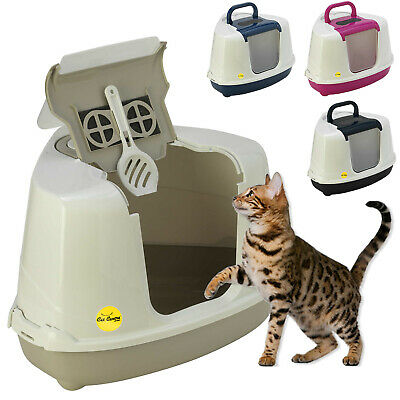 Deep Corner Cat Litter Tray 4 Colours Kitten Box Hooded Toilet Filter Scoop XL