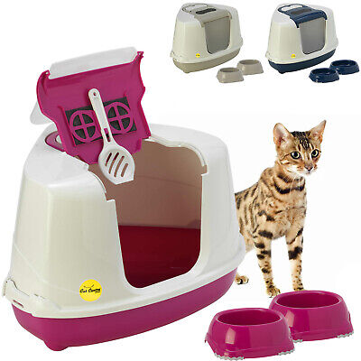 Corner Cat Hooded Litter Tray + 2 Non Slip Bowls Toilet Loo Filter Scoop Pan