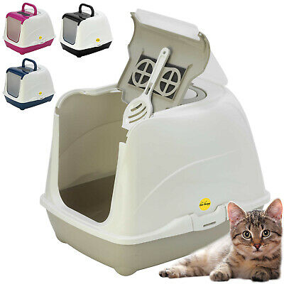 Cat Flip Litter Tray 4 Colours Box Hooded Pan Toilet Loo Carbon Filter Scoop