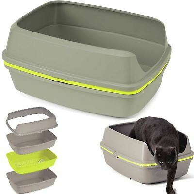 Cat Grey Scoopless Litter Tray Sifting Toilet Box High Sided Extra Deep Large
