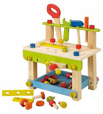 Kids Toddlers Boys Workbench Tool Set Wooden Pretend Play Work Shop Toolbox