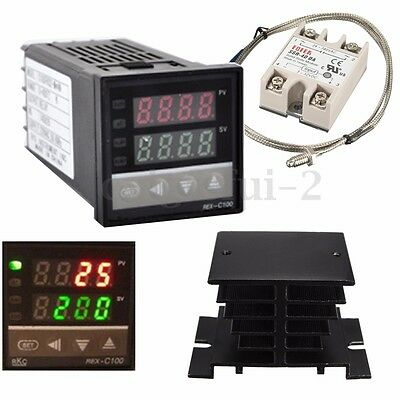 100-240V Digital PID Temperature Controller 40A SSR Solid State Relay Heat Sink