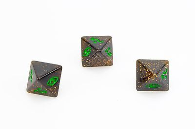 Dice X-Wing Miniatures Sparkly Black Green Defence Dice x 3