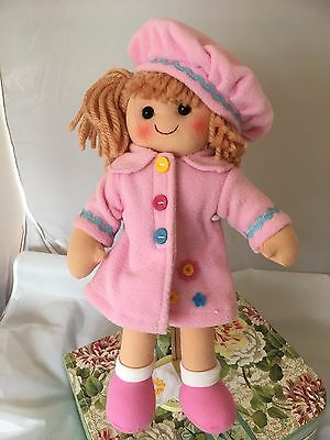 Personalised 28 cms Rag Doll Set With 2 Outfits Dress & Coat Girls Gift Ragdoll
