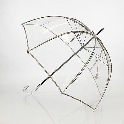 Grand parapluie cloche transparent tartan anglais