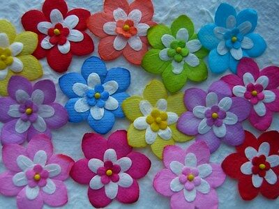 25 x 33mm Mulberry Paper FLOWERS  MPFF32 Embellishments for Scrapbooks, Cards