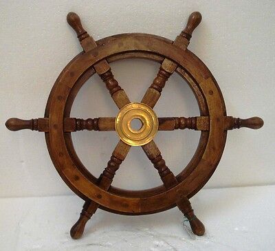 Vintage Style ship's STEERING - HELM - Wooden & Brass - 18 Inches - LARGE (1235)