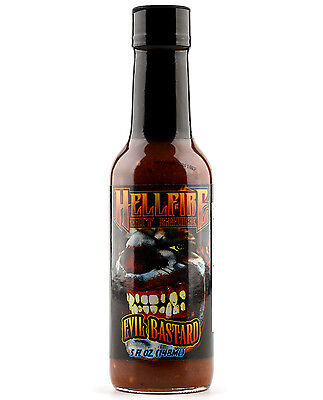 """HELLFIRE EVIL BASTARD"" Hot Sauce - Made with Naga, Trinidad and 7 Pod Peppers"