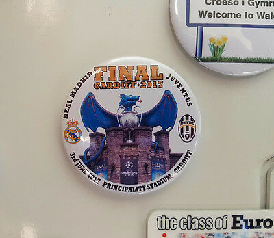 Champions League Cup + Dragon, Cardiff Castle - Fridge Magnet - 58mm diameter
