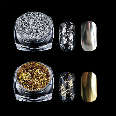 Glitter Aluminum Flakes Magic Mirror Effect Powder Sequin Nail Art Gel Chrome