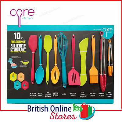 Core Home 10 Piece  Silicone Utensil Set with Overmold Solid Core