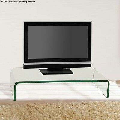 Modern TV Table Monitor Attachment Shelf curved Glass Living room classy