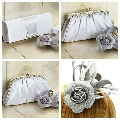 Silver Clutch Bag and Fascinator Set Occasion Wedding Prom Ladies Day Races UK