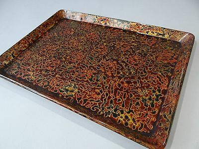 "Vintage Tsugaru-nuri Lacquered Wood serving Tray ""OBON"", Tea Ceremony"