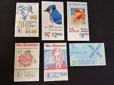 U.S. DISCOUNT POSTAGE BOOKLETS 6 diff All 15¢ & 20¢ Ready to Use, Face $18.00