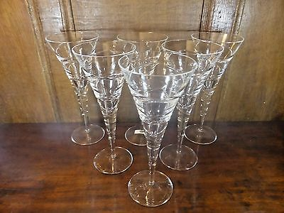 EXCELLENT crystal SET 6 TALL double spiral WINE/CHAMPAGNE GLASSES/FLUTES - 9.5""