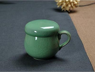 Longquan celadon ceramic cup with strainer lid liner Ge tea cup large capacity