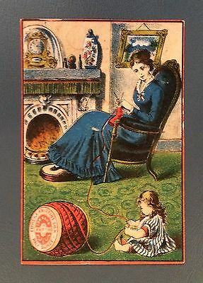 Victorian Trade Cards - Eureka Knitting Silk - Woman with Baby Girl - 1800's