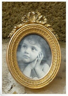 Antique Victorian French 19th Bronze Photo Frame Louis XVI Style