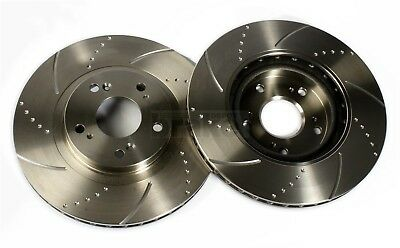 Front Brake Discs Dimpled & Grooved for Toyota Aygo 1.4 D 2006>