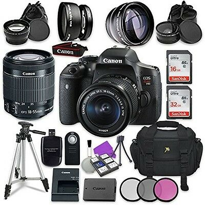 Canon EOS Rebel T6i 24.2MP WiFi Enabled Digital SLR Camera with Canon EF-S 18-55