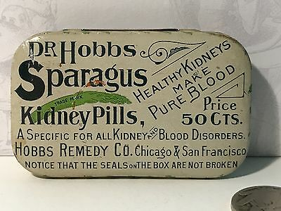 1890 Dr. Hobbs Sparagus Kidney Pills Tin Quack Medicine Antique Advertising Drug