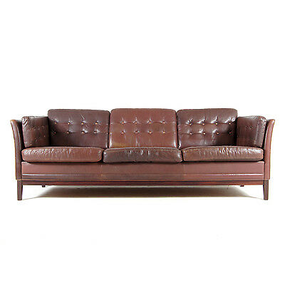 Retro Vintage Danish Design Rosewood 3 Seat Seater Leather Sofa Mid Century 70s