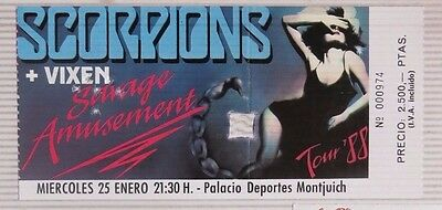 Scorpions + Vixen : Ticket Original !!!!!!! Barcelona 1989 !!!! Spain