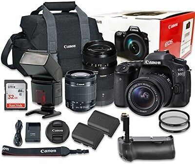 Canon EOS 80D Digital SLR Camera Bundle with EF-S 18-55mm f/3.5-5.6 IS