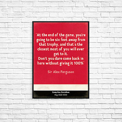 Manchester United 99 Alex Ferguson Retro Style Print A4 Picture Poster