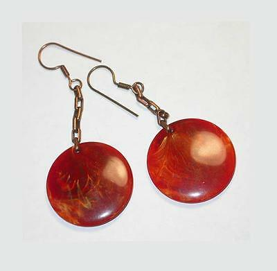 ~~SPECTACULAR VTG 60's MOD RUSSET & THERMOSET & COPPER DROP EARRINGS!~~