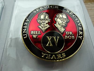 AA Bill&Bob Red Gold 15 Year Coin Tri-Plate Alcoholics Anonymous Medallion+Stand