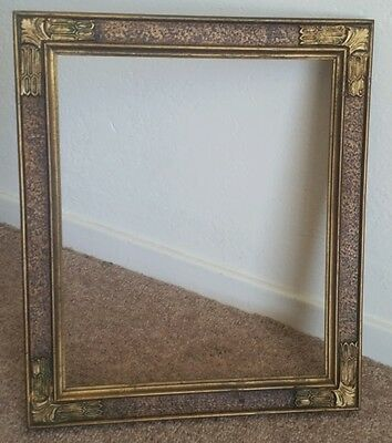 Antique Ornate 1920s Gessoed Corners 10 x 12 Old Picture Frame