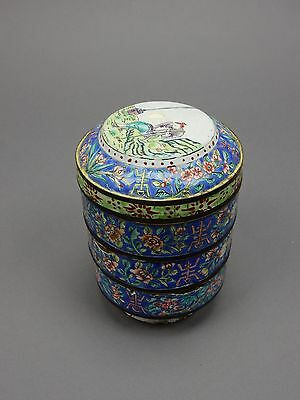 Antique Chinese Cloisonné Enamel Stacking Storage boxes 6 inches
