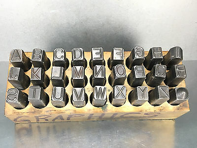 """Young Bros. 1/2"""" Steel Letter Stamps - 27 piece Set (09271) Machinist Marking"""