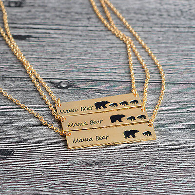 Gold Plated Mama Bear Tag With Cubs Engraved Pendant Necklace Mothers Day USA