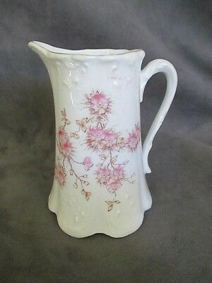 E5 Antique Ceramic Creamer Milk Pitcher White w/ Pink Floral Design