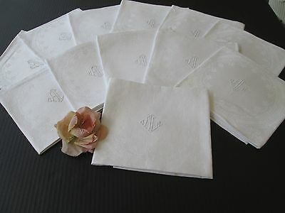 "Twelve Antique Damask Linen Napkins With Fancy Center Monogram ""al"""