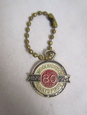 "Vintage WOOLWORTH'S 80th year 1959 Anniversary key chain 1""  *"