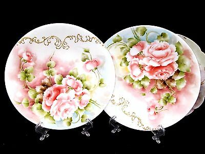 Limoges France Painted Roses Artist Signed Set Of 2 Plates