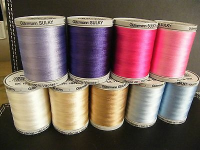 Gutermann SULKY Rayon 40 Embroidery Thread 1000 Meter Threads