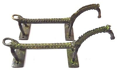 Rare Pair Horse Handmade Antique Vintage Style Brass Door Handle Set Home Decor