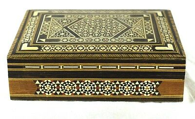 Vintage Wood Trinket Jewelry Box Lacquer Marquetry Made in Lebanon Lovley