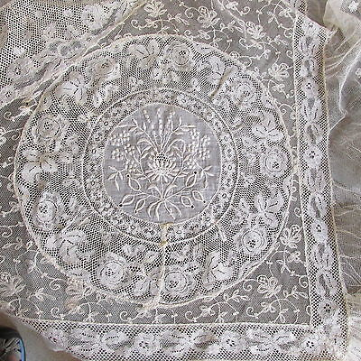 JZ-Antique ecru Normandy mixed embroidered net lace bedspread 68 x 100""
