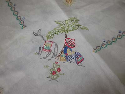 Vintage Hand embroidered tablecloth with crocheted edge gorgeous Mexican design