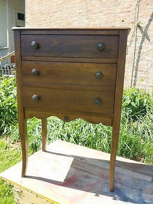 Antique Sewing Box Stand Cabinet Side Table Swinging Thread Drawer Solid Wood