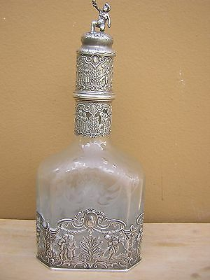 Rare Antique Victorian Very Ornate Repousse Sterling Silver and Crystal Decanter