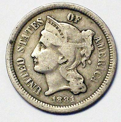 1881 3CN Three Cent Nickel Coin NAME YOUR PRICE !!